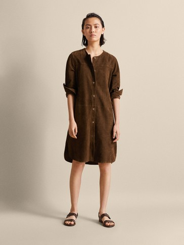 BUTTONED SUEDE DRESS