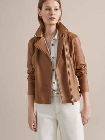 NAPPA LEATHER BIKER JACKET WITH SIDE TABS