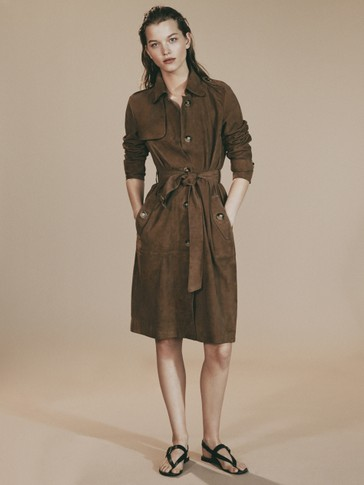 LIMITED EDITION SUEDE TRENCH COAT WITH TIE BELT