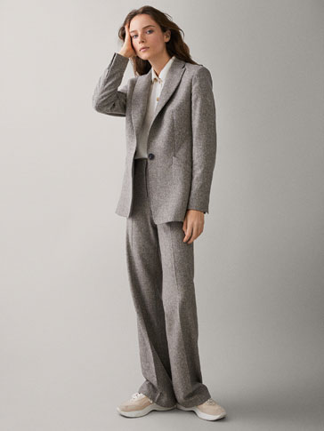 STRAIGHT FIT FLECKED WOOL TROUSERS