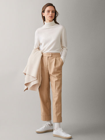 STRIPED CROPPED WOOL TROUSERS