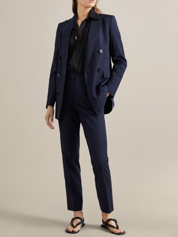 NAVY PINSTRIPE 100% WOOL SLIM FIT TROUSERS
