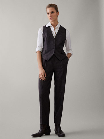 SLIM FIT HOUNDSTOOTH WOOL TROUSERS WITH DARTS