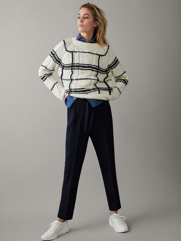 NAVY BLUE JOGGING TROUSERS WITH JACQUARD
