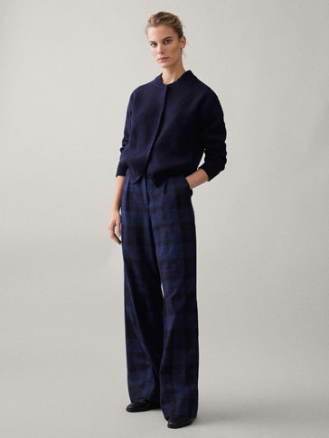 WIDE FIT CHECK WOOL TROUSERS