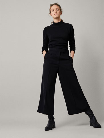 PLAIN CULOTTE FIT TROUSERS