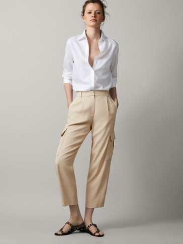 LOOSE-FITTING CROPPED CARGO TROUSERS