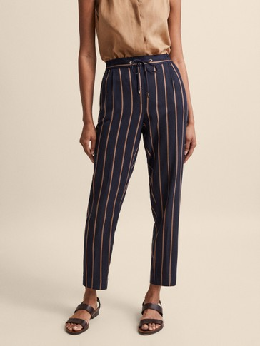 NAVY JOGGING FIT STRIPED TROUSERS