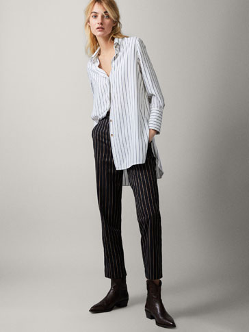 STRIPED CROPPED COTTON TROUSERS