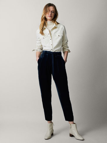 NAVY BLUE VELVET JOGGING TROUSERS