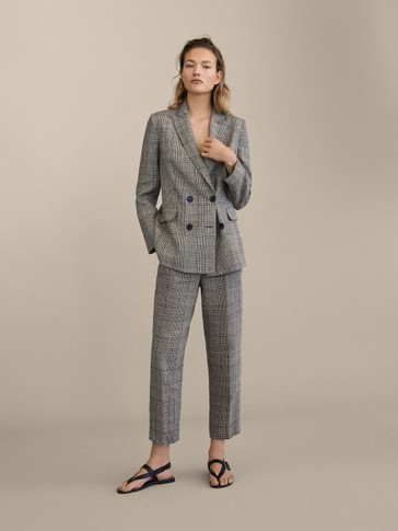 Slim Fit Check 100 Percents Linen Trousers by Massimo Dutti