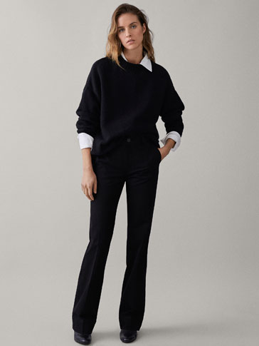BLACK MID-RISE BOOT-CUT TROUSERS
