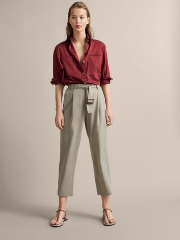 SLIM FIT BELTED DARTED LYOCELL TROUSERS