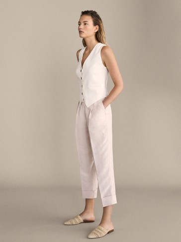 SLIM FIT DARTED LINEN TROUSERS