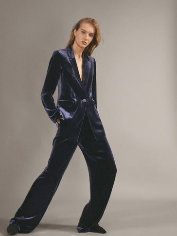 NAVY VELVET TROUSERS