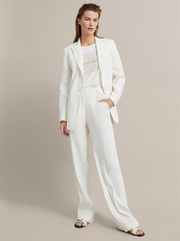PLAIN LINEN FLARED TROUSERS