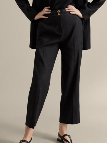 SLIM FIT BLACK COTTON LINEN TROUSERS
