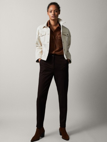 MID-RISE SLIM FIT TROUSERS