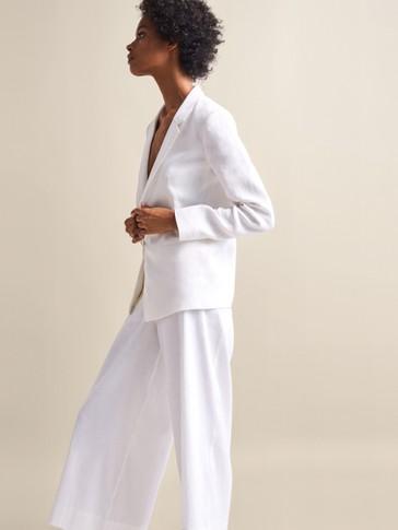 Plain Linen Culotte Trousers by Massimo Dutti