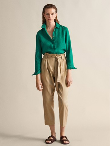 Linen Slim Fit Paperbag Trousers With Tie by Massimo Dutti
