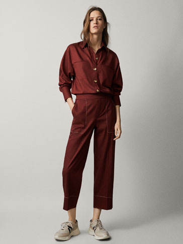 CROPPED LYOCELL TROUSERS WITH TOPSTITCHING