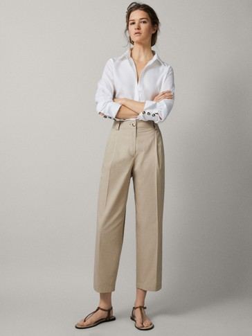 SLIM FIT PLEATED CHINO TROUSERS