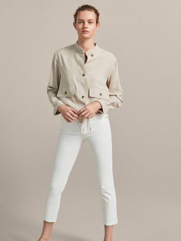 MID-RISE SLIM CROPPED FIT RUBBERISED TROUSERS