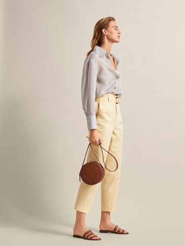 SLIM FIT BELTED COTTON PAPERBAG TROUSERS