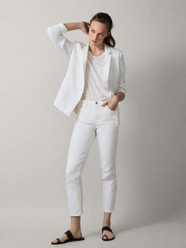 MID-RISE SLIM CROPPED FIT DENIM-EFFECT TROUSERS