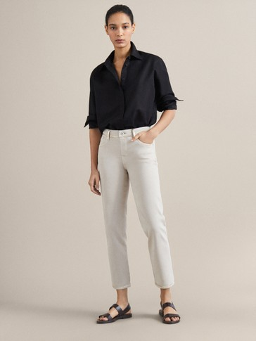 SLIM CROPPED FIT DENIM-EFFECT TROUSERS WITH METALLIC DETAIL
