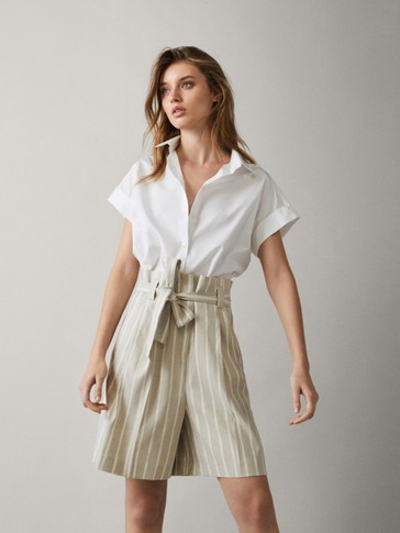 STRIPED LINEN BERMUDA SHORTS WITH TIE BELT