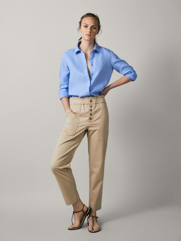 Linen Slim Fit Paperbag Trousers by Massimo Dutti