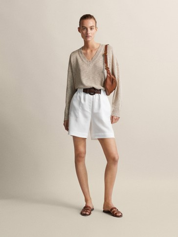 LYOCELL AND LINEN BERMUDAS WITH TIE BELT