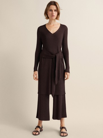 Ribbed Culotte Fit Trousers by Massimo Dutti
