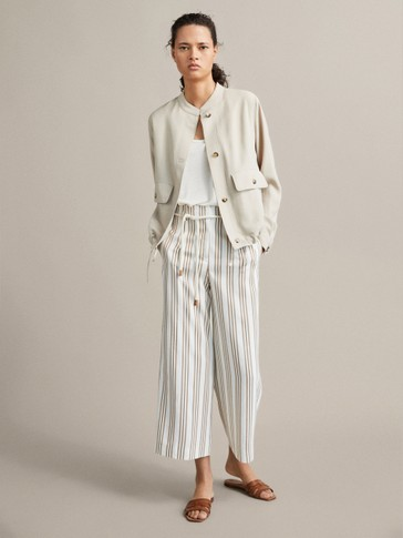 PETITE FIT STRIPED TROUSERS WITH BELT