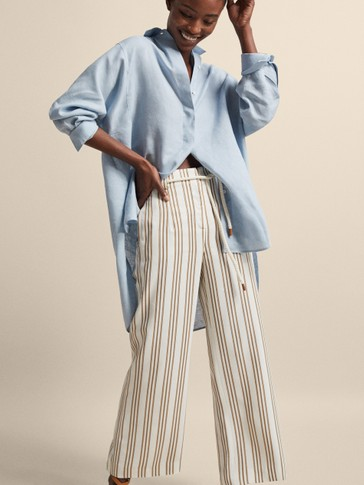 STRIPED CROPPED TROUSERS WITH BELT