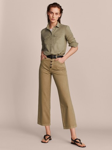 TAILORED STRAIGHT FIT COTTON TROUSERS WITH BUTTONS
