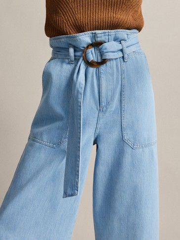 WIDE FIT JEANS WITH BELT