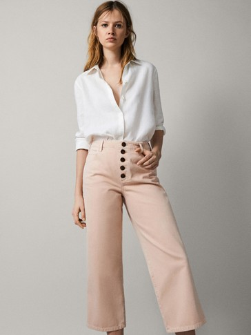 MID-WAIST TAILORED STRAIGHT FIT DENIM-LIKE TROUSERS