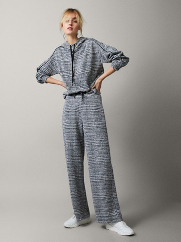 Wide Fit Textured Knit Trousers by Massimo Dutti