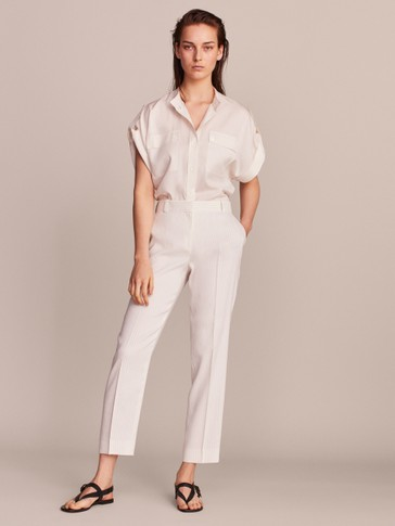 SLIM FIT STRIPED LINEN TROUSERS