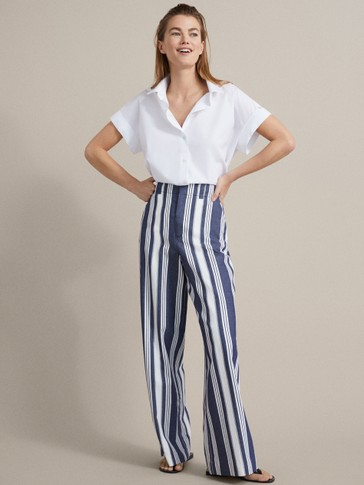 WIDE FIT STRIPED COTTON TROUSERS