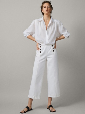 TAILORED STRAIGHT FIT COTTON TROUSERS WITH TOPSTITCHING