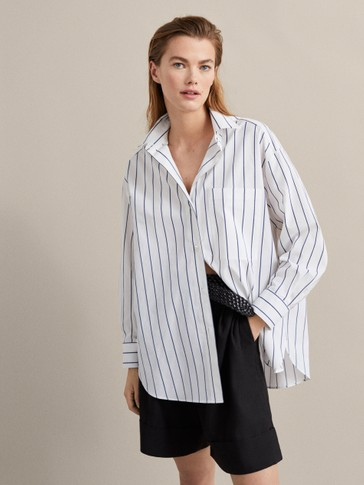 STRIPED COTTON SHIRT WITH POCKET