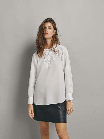 COTTON SILK LACE BLOUSE