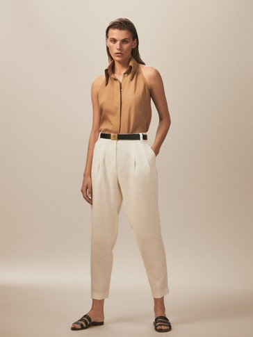 LIMITED EDITION SLIM FIT 100% LINEN TROUSERS WITH BUTTONED HEMS