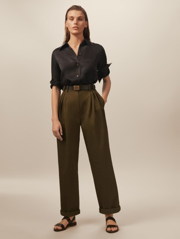 LIMITED EDITION WIDE FIT COTTON AND LINEN TROUSERS WITH TURN-UP HEMS