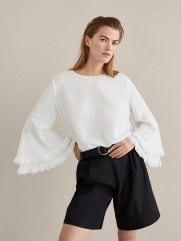 COTTON/SILK BLOUSE WITH RUFFLES
