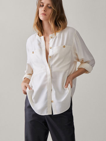 TOPSTITCHED COTTON SHIRT