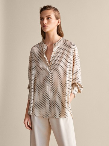 TWO-TONE PRINT OVERSIZED BLOUSE